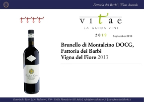 """4 Vines"" for 2013 Brunello Vigna del Fiore, top score from the Italian Sommelier Association guide"